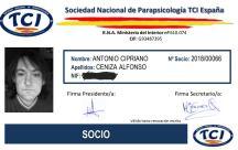 MIEMBRO DE TCI ESPAÑA, SOCIEDAD NACIONAL DE PARAPSICOLOGÍA(NÚMERO DE SOCIO 2018/00066)